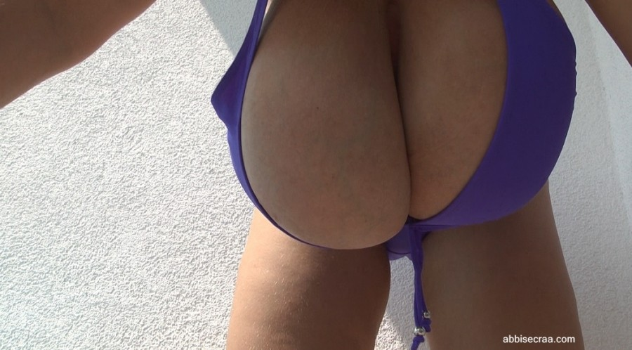 Purple bikini on terrace - screen grabs