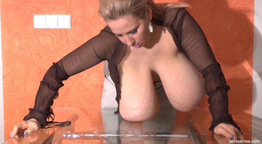 Heavy breasts sliding on the glass -screen grabs