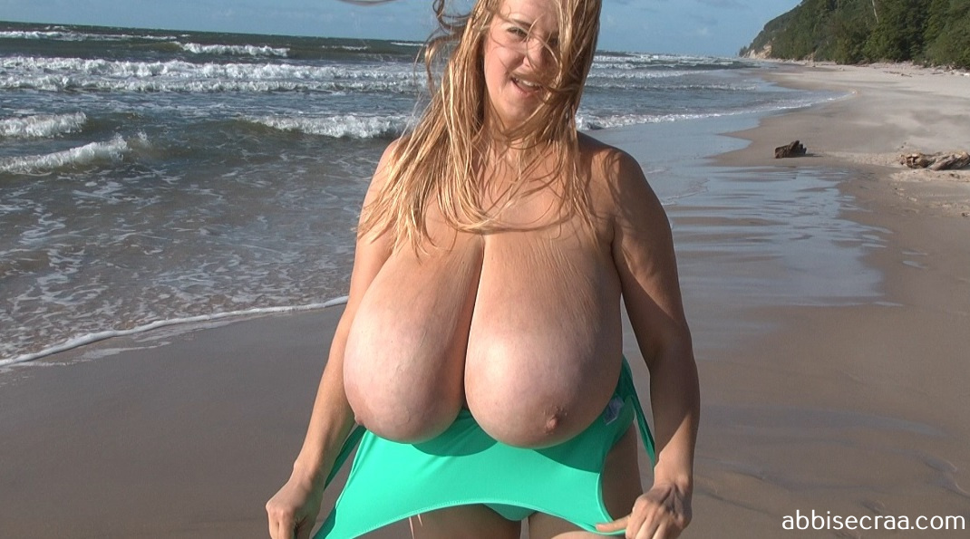 Busty beauty and beach - screen grabs